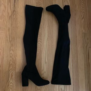 Faux Suede Black Thigh High Over the Knee Boots